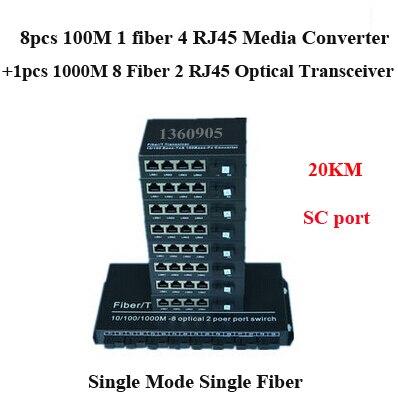 10/100M single mode single fiber media converter SC 8pcs 1 Fiber 4 RJ45  + 1pcs 1000M 8 fiber 2 RJ45 fiber optic transceiver ruisikangda is fiber transceiver single and double rc531 fe s1 desktop