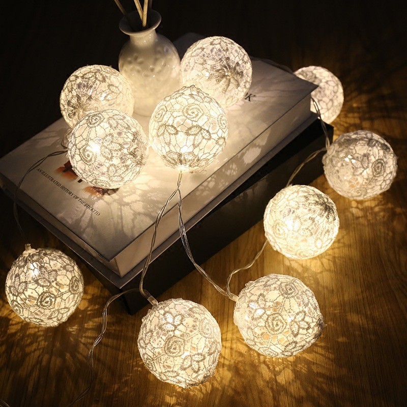 1.5M 3MLED Battery/USB Lace Cotton Ball String Fairy Light Christmas Garlands Bulb Lamp For Holiday Wedding  Party Decoration
