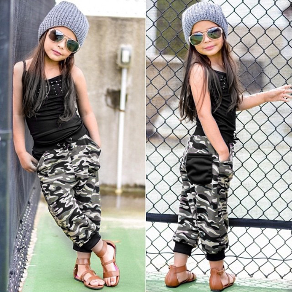 2Pcs/Set Toddler Children Kids Baby Girls Outfits Set Black Sleeveless Shirt Tops Outfit + Casual Long Pant Clothing hot 0 4y toddler baby boy girl clothes long sleeve hooded t shirt tops and striped pant 2pcs outfit kids clothing set tracksuit