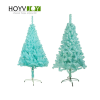 HOYVJOY Christmas New Year Tree Light Blue PVC+Flocking With LED Event Party Xmas 60cm Mini Heavy Pine Artificial Home Decor