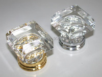 50PCS/LOT FREE SHIPPING 33MM CLEAR SQUARE CRYSTAL KNOBS ON CHROME BRASS BASE