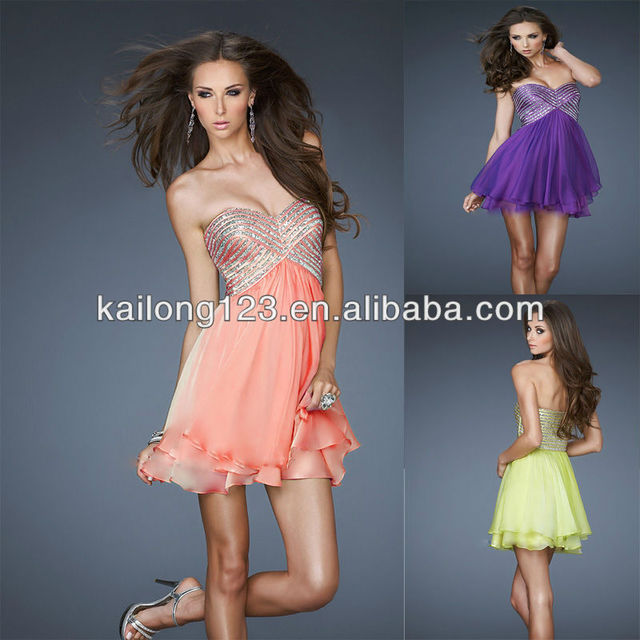 f778b1ff851 Sweetheart Layered Empire Waist Purple Hot Coral Light Lime Silver Sequin  Bodice Chiffon Ladies Mini Homecoming Dress