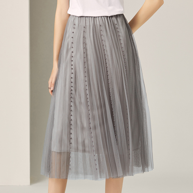 Pleated Skirt Women Summer 2019 New Fashion Solid Color Beading Mesh Elastic Waist French Style All Matched Gray Skirt Midi S-XL