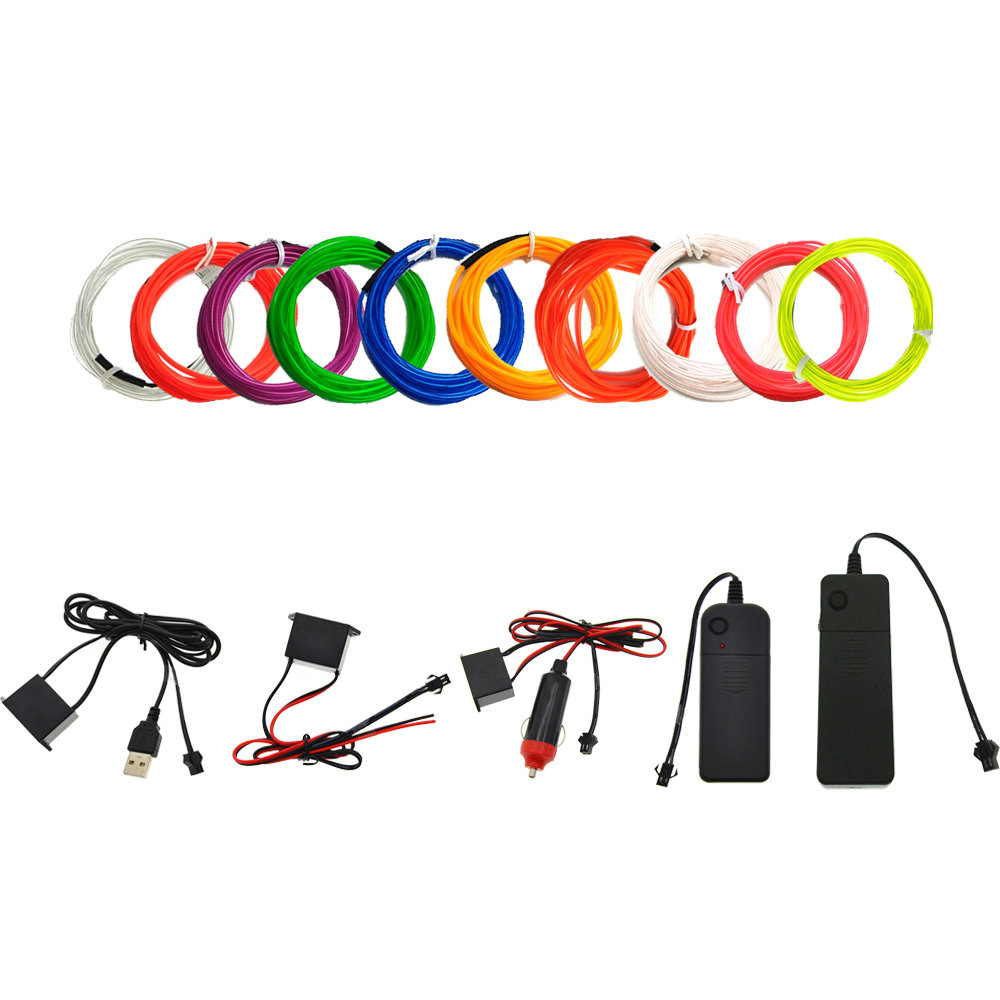 3V/5V/12V Neon Light Dance Party Decor Car Lights Neon LED Lamp Flexible 2.3MM  EL Wire Rope Tube LED Strip With Inverter
