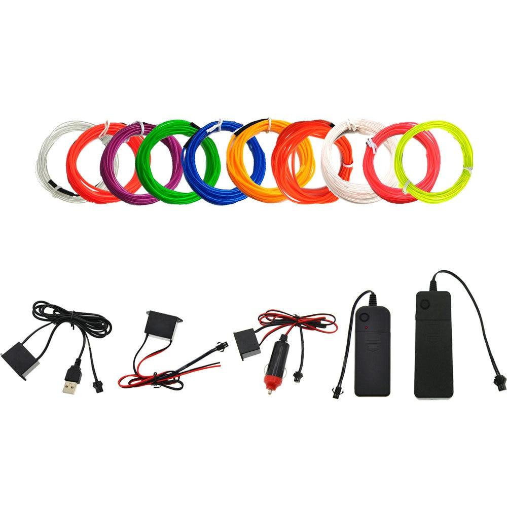 3V/5V/12V Neon Light Dance Party Decor Car Lights Neon LED Lamp Flexible 2.3MM  EL Wire Rope Tube LED Strip With Inverter