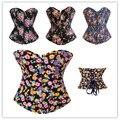 Denim Burlesque Floral Printing Zipper Overbust Corset Carnival Clubwear Pattern Waister Cincher Bustier S-2XL