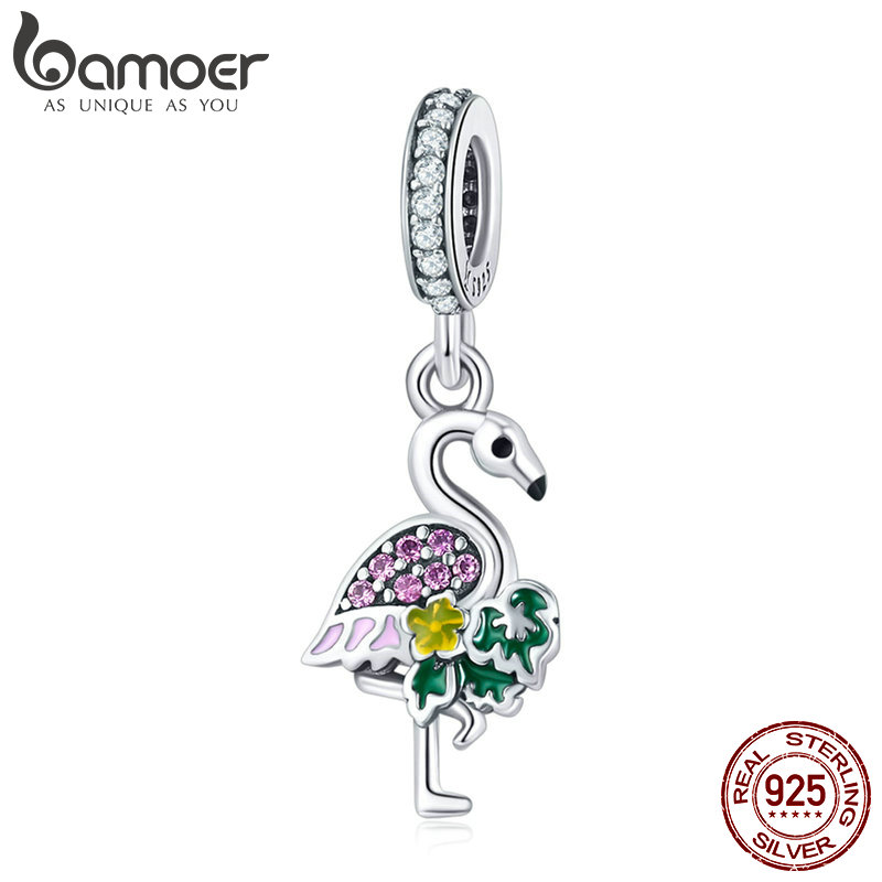 BAMOER Authentic 925 Sterling Silver Flamingos Wish Colorful Crystal CZ Charms Fit Bracelets & Necklaces DIY Jewelry SCC849BAMOER Authentic 925 Sterling Silver Flamingos Wish Colorful Crystal CZ Charms Fit Bracelets & Necklaces DIY Jewelry SCC849