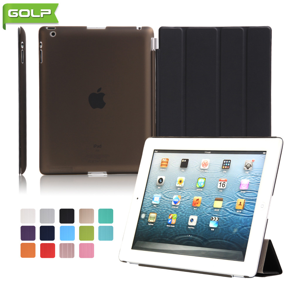 GOLP Case for iPad 2 3 4 Attractive Perfect Fit 2 In 1 Magnet PU Leather Smart Cover PC Translucent Back Case for iPad 2 4 A1430 pannovo waterproof pu leather extra thick anti shock eva case for gopro hero 4 3 3 2 sj4000