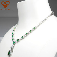 Green Waterdrop Shape Wedding Necklaces Pendant For Bride Party Engagement Bijoux Mariage Accessory ST009P High Quality