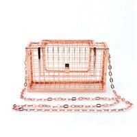 Homeda Women Bag Metal Net Bags Rose Gold Mesh Grid Cage Clutch Women S Single Chain