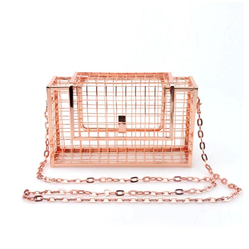 Homeda Women Bag Metal Net Bags Rose Gold Mesh Grid Cage Clutch Women's Single Chain Shoulder Bag Female Clutch vintage bird cage shoes rose gold metal