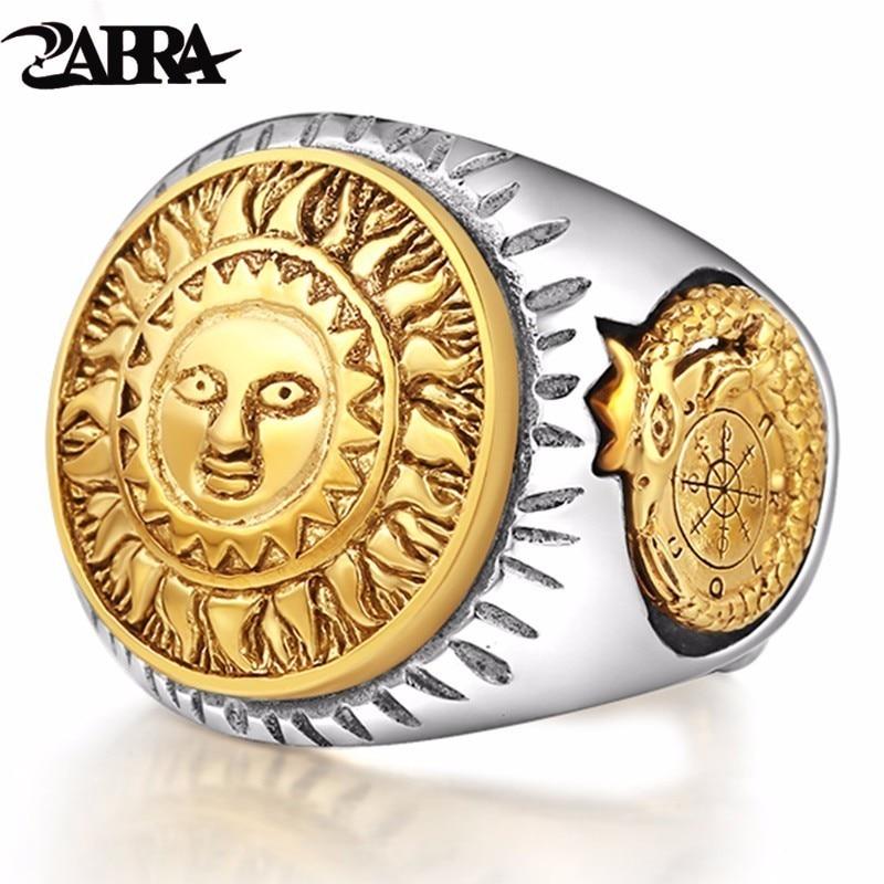 ZABRA 925 пробы серебряные кольца люди золото Цвет бог солнца улыбка 3D скульптура динозавра Регулируемый Размеры Винтаж Панк ювелирные изделия...