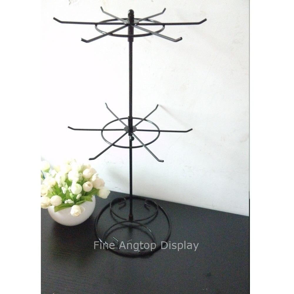 Black Wrought Iron Rotating Holder 2-Tier Revolving Stand Rack Jewelry Keyring Display Hanger 12 Hooks статуэтка jewelry stand 2