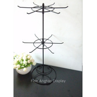 Black Rotating Holder 2 Tier Revolving Stand Rack Jewelry Keyring Display Hanger 12 Hooks