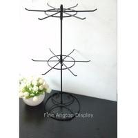 Black Rotating Holder 2 Tier Revolving Stand Rack Jewelry Keyring Display Hanger 12 Hooks