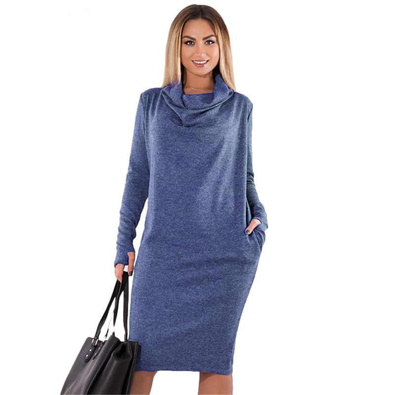 f48e81f5bc3de Women solid Plus Size 5XL 6XL Long Sleeve autumn winter thick warm Dress  pocket casual Office