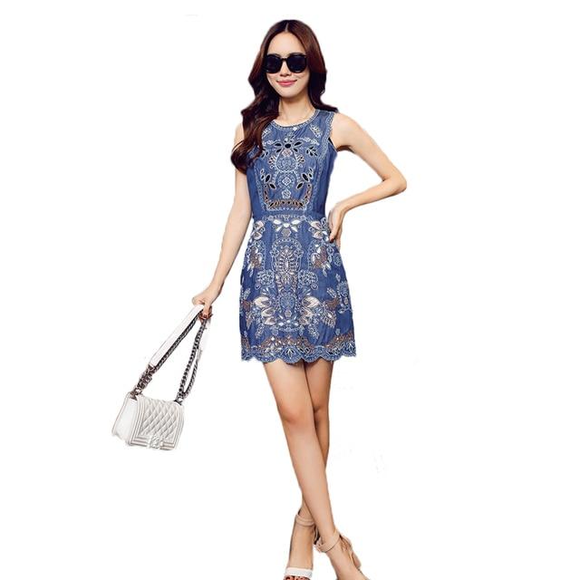 Женщины Vintage Denim Вышивка Платья 2017 Лето Тонкий Элегантный Ретро Цветочные Выдалбливают Повседневная Жилет Короткие Мини Vestidos