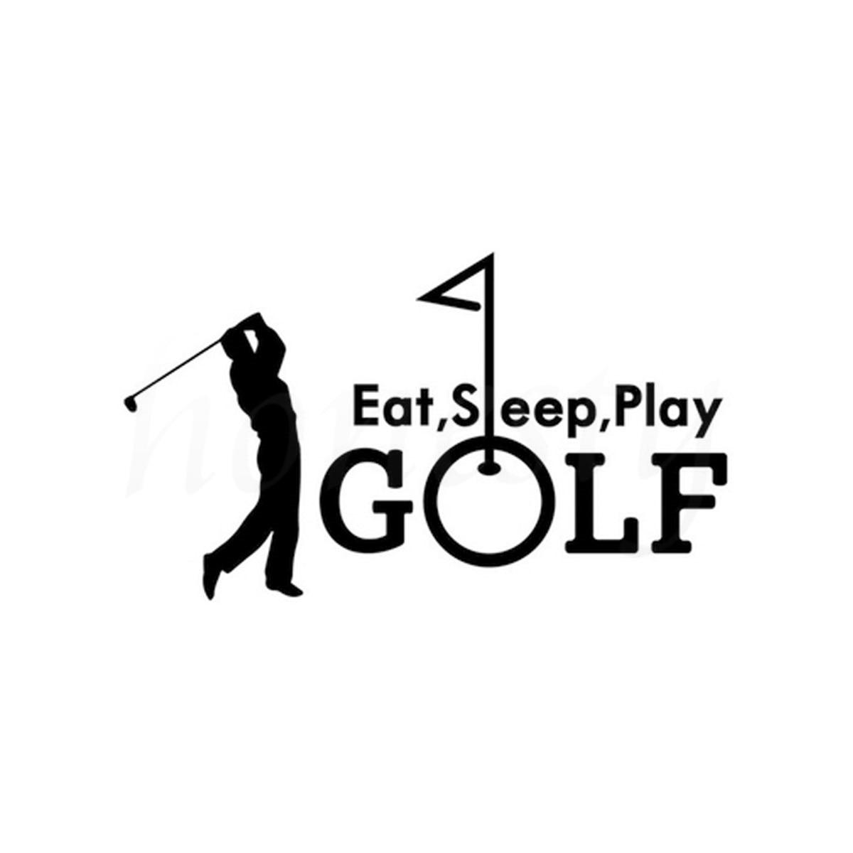 Golfing Sports Car Sticker Eat Sleep Play Art Wall Home Glass Window Laptop Truck Bumper Vinyl Decal Decor Black 18.0cmX10.4cm