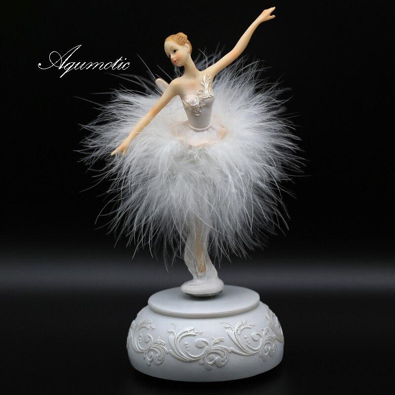 Aqumotic Elegant And Refined Ballerina Dance Carousel Music Box Pink Barbie Feather Music Box Diy Wedding Birthday Gift For Girl