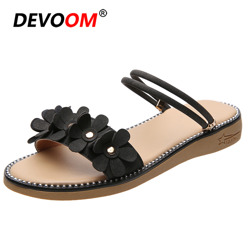 New Brown Teenslippers Women Flowers Furry Slides For Women Home Shoes Zuecos <font><b>Mujer</b></font> House Slippers Black Slides Women's Sandals image