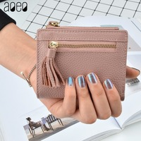 AOEO Women Wallets Genuine Leather Purse Ladies Clutch Hand Bag Double Zipper Coin Pocket Card Holder