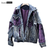 Ripped Hole Denim Jacket Female Long Sleeve Jeans Jacket Women Spring Autumn Boyfriend Loose Sequins Jackets Lady Casual Coats