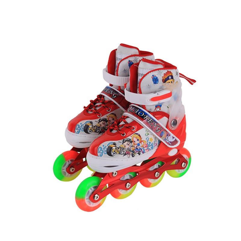 10 in 1 Set Teenagers Children Inline Skate Roller Skating Shoes Adjustable Washable Colorful Flash Wheels Protector Gear Helmet 1 pair adult teenagers ice skate roller skating shoes adjustable washable pu wheels large size