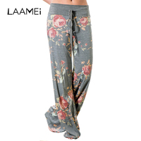Laamei High Waist Women Loose Pants Floral Printed Boho Wide Leg Pant Multicolor Drawstring Female Lady Casual Bottoms Clothing