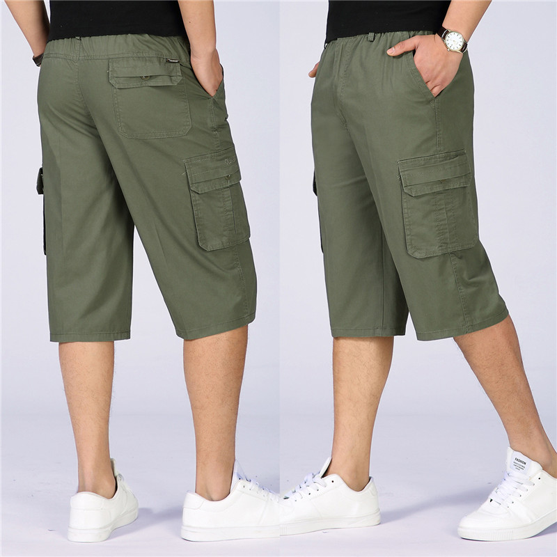 Summer Shorts For Men Solid Baggy Multi Pocket Military Loose Elastic Waist Mens Cargo Short Hot Male Army Green Khaki Grey 6XL