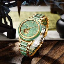 2019 Sale Hot Sale Wholesale Natural Jadeite Jade Watches Fashion Set Auger Waterproof Automatic Lvkong Mechanical free shipping for jade cushion germanium jade heated cushion hot sale in china for sale