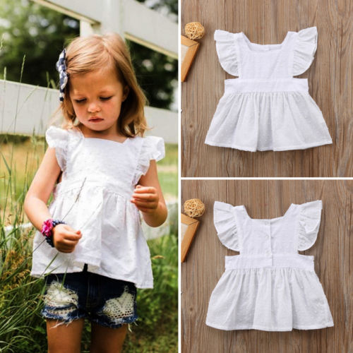 Pretty Newborn Kids Baby Girls Ruffle Blouses Tops Summer Shirt Blouse Dress Clothes Outfits
