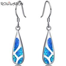 925 Sterling Silver Created blue fire opal drop Earrings Wedding Jewelry Earrings For Woman SE004 fake opal geometry drop earrings