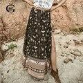 Lace girl verano maxi skrit 2017 mujeres de la impresión floral falda de hendidura vintage saias longa faldas largas faldas de gasa estilo bohemio
