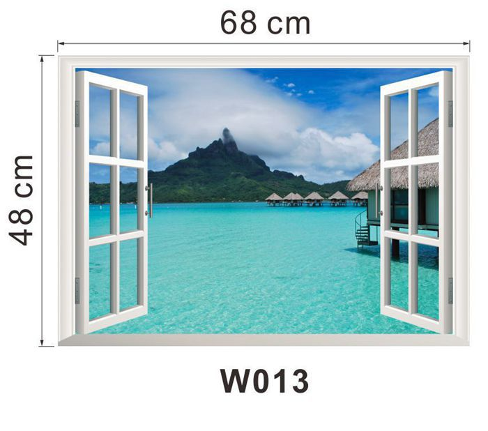Tropical Sea View Wall Sticker Fake Window Wallpaper Art Bedroom Home Office Cafe Bar Poster Decals In Stickers From Garden On