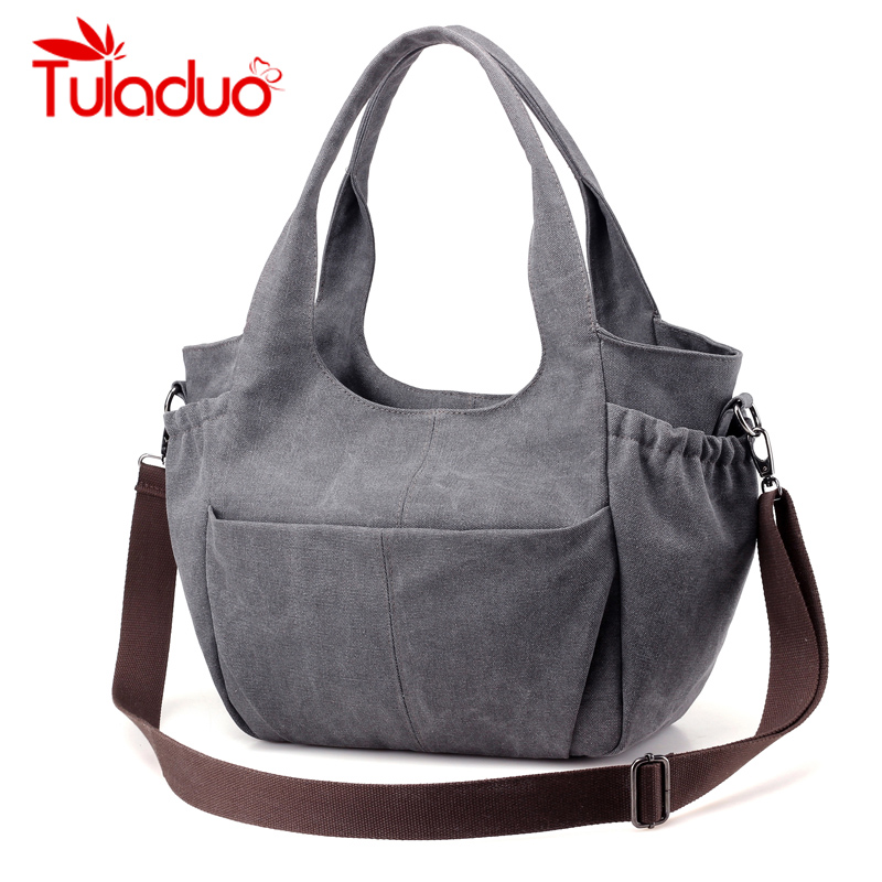 Women Casual Totes Bag Ladies Large Capicity Canvas Handbags New Famous Brand Design Hobos High Quality Shoulder Bags sac a main high quality travel canvas women handbag casual large capacity hobos bag hot sell female totes bolsas ruched solid shoulder bag