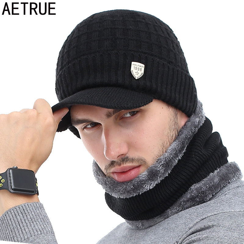 AETRUE Skullies Beanies Winter For Men Women Wool Scarf Caps Balaclava Mask Gorras