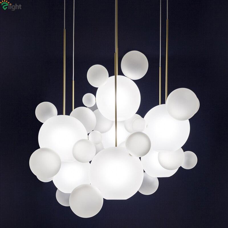 Moderno Mickey Led colgante luces comedor de vidrio esmerilado bola ...