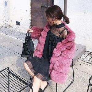 Image 3 - Zadorin 2020 プラスサイズ冬上着毛皮フェイクファーのコートの女性高襟長袖フェイクファージャケットをfourrure abrigosのmujer