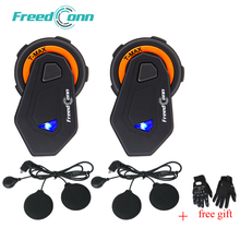 2 pcs FreedConn T-MAX Moto Helmet Bluetooth Headset 6 riders Talking Motorcycle Intercom 1000m FM Radio 4.1+Soft Mic