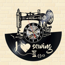 2018 New Arrival CD Vinyl Record Creative Design Sewing Machine Shape Wall Clock
