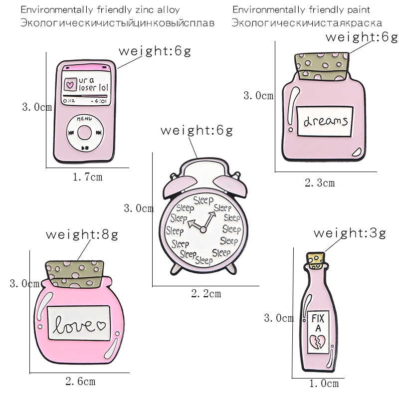 Cartoon Pink Love Dreams Bottle MP3 Alarm Clock Brooches Funny Enamel Pin  Backpack Clothes Jewelry Accessories Gift for friend