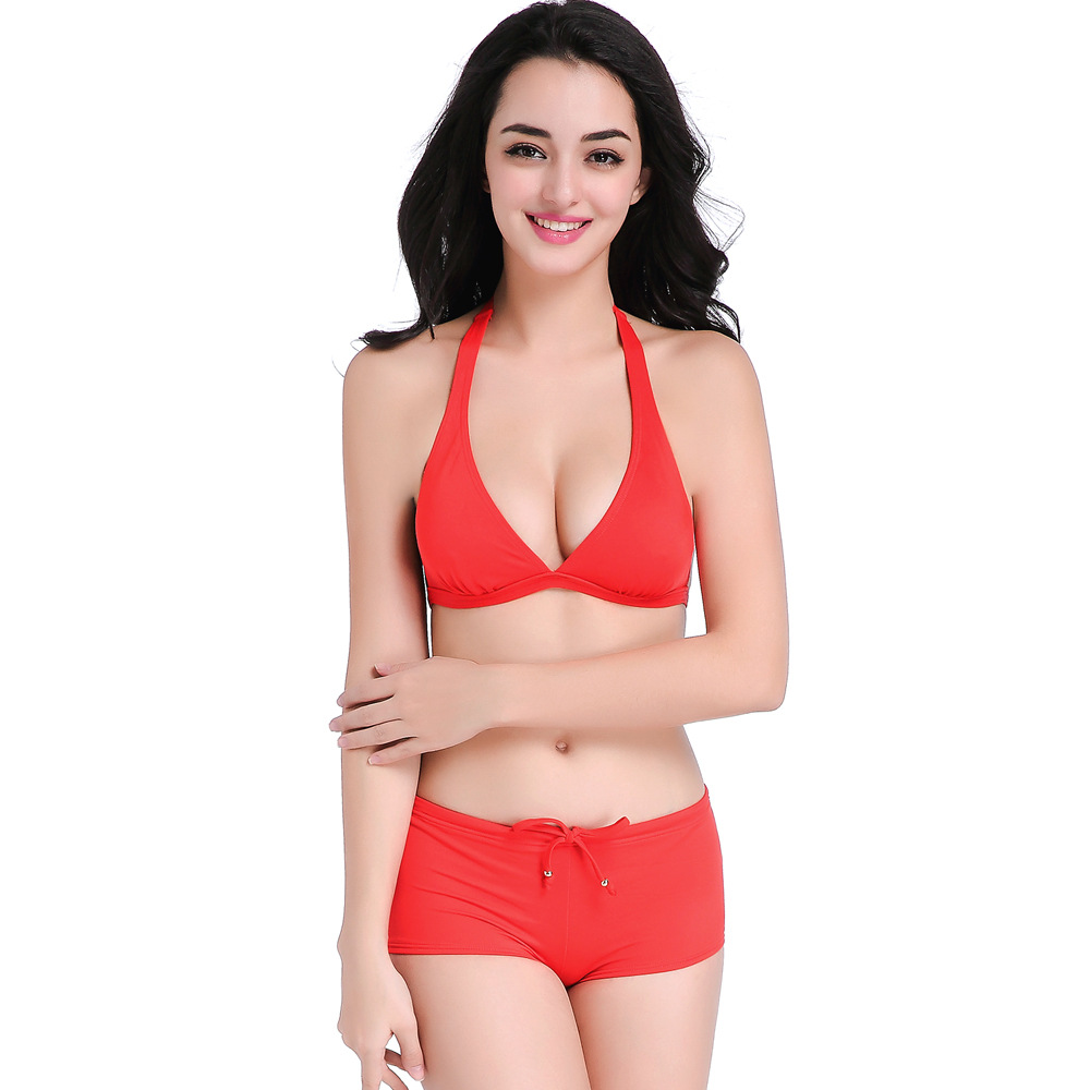 Sexy Solid Red Halterneck Strappy Bikini Swimsuit Women Hollow-Out Tankini Two Pieces Bathingsuit Beachwear Summer Maillot Wear