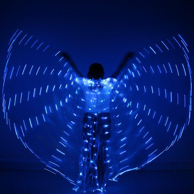 2018 Stafe Performance Prop Women Dancewear Girls DJ LED Wings Light Up Wings Belly Dance Wing Costume with Sticks