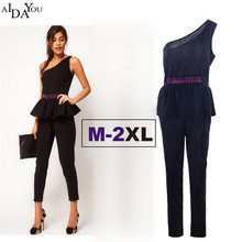 Summer Women formal jumpsuits one shoulder straight Fashion sleeveless  ruffles ankle-length pants suits AIDAYOU ouc655 8cf5b840a138