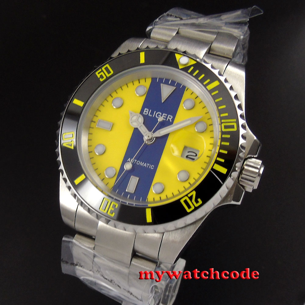 40mm bliger blue yellow dial date sapphire crystal automatic mens watch13240mm bliger blue yellow dial date sapphire crystal automatic mens watch132