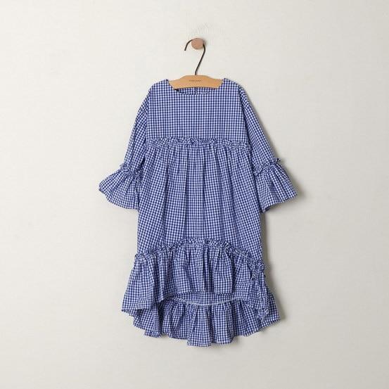 Dresses Girls Flare-Sleeve Asymmetrical Plaid Ruffle Kids Cotton Child Summer 4-To-14-Yrs
