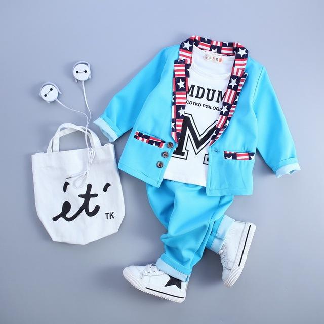 Nova Queda Primavera Bebê Meninos Dos Desenhos Animados Vestuário Set Tops + Pants 3 Pacotes de Bebê Meninas Estilos de Moda Sportswear