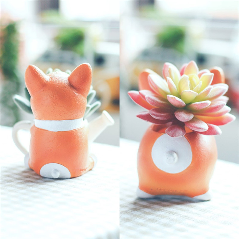 Image 5 - Lovely Corgi Dog Shaped Plant Decor Succulent Plants Decorative Flower Pot garden small planter succulent guardian-in Flower Pots & Planters from Home & Garden