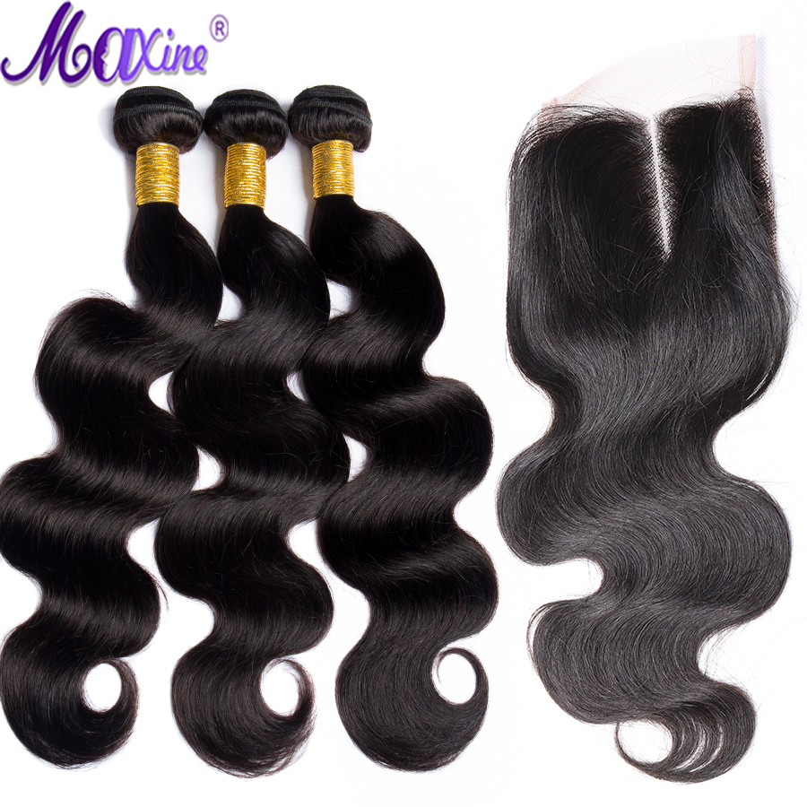 Maxine hair Malaysian Body Wave 4 Bundles with Closure 5PCS Lace Closures with Hair Weaves Remy