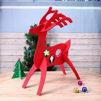 Xmas Gift Table Decoration Felt 3D Christmas Deer Ornament Pendant Shop Window Showcase Display Party Wedding
